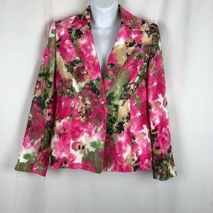 Kasper button front floral blazer 4P